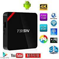 Hindotech Model Android 6.0 TV Box Amlogic S905X Quad Core 3D 4K HD Support 2.4G Wi-Fi 1GB/8GB Streaming Media Player Included Remote T95N