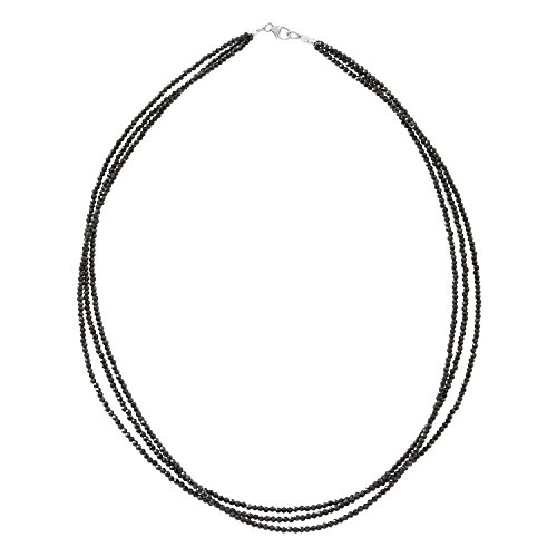 Bead Triple Strand Necklace - Triple Strand Women Black Spinel Bead Necklace 925 Sterling Silver Size 18