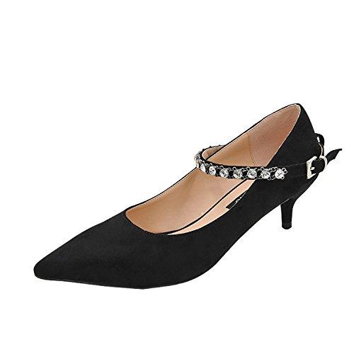 colore comode 39 solido velluto fibbia a Punta inserire di le alto 5cm punte dolce scarpe tacco Nero del AqTCwPH