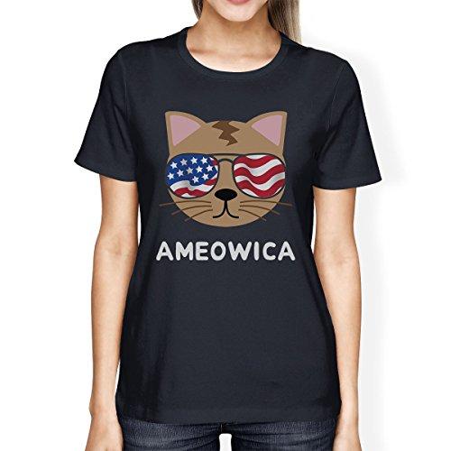 de 365 marino Printing mujer manga de azul corta para mujer para Camiseta camiseta Ameowica 0ZrqWgO0