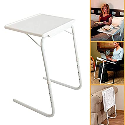 Awe Inspiring Ssline Folding Sofa Side Snack Table Height Adjustable Breakfast Tv Tray Portable Lifting Laptop Desk Overbed Table With Tilting Top White Download Free Architecture Designs Scobabritishbridgeorg