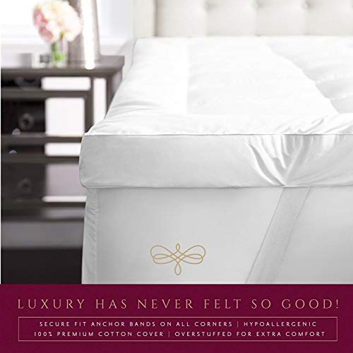 Park Hotel Collection 2 Inch Down Alternative Featherbed Mattress Topper - Ultra Plush 100% Long-Staple Cotton 2'' Pillowtop Bed Topper/Pad - Hypoallergenic - Twin by Park Hotel Collection (Image #1)