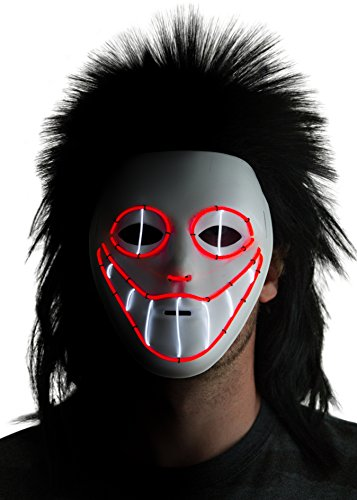 [Neon Nightlife Men's Light Up Creepy Halloween Scary Puppet Mask, Red and White] (Puppet Costume Scary)