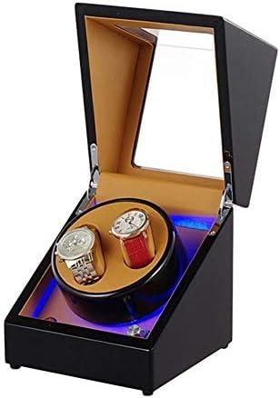 上げ機 ボックスの静かなモーター5の回転モードを巻きウォッチワインダー2イルミネーションピアノペイントブラック自動 腕時計ワインディングマシーン