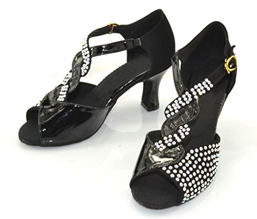 TDA Stylish Jazz Ballroom T Women's Buckle cha Rhinestone Cha Shoes Peep Rumba Suede Toe Heel Mid Black starp rrHxA