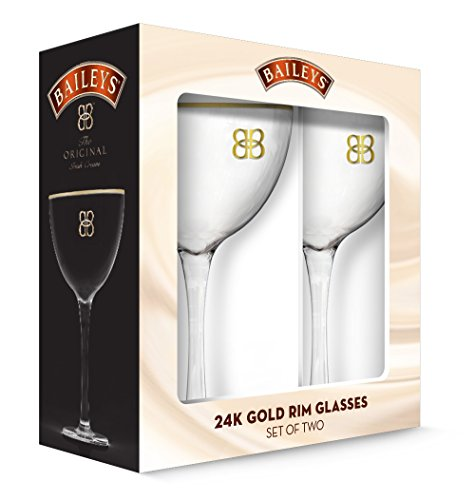 PB Licensing GD16144ST Clear Bailey's Stemware with Gold Rims set of 2, 1,