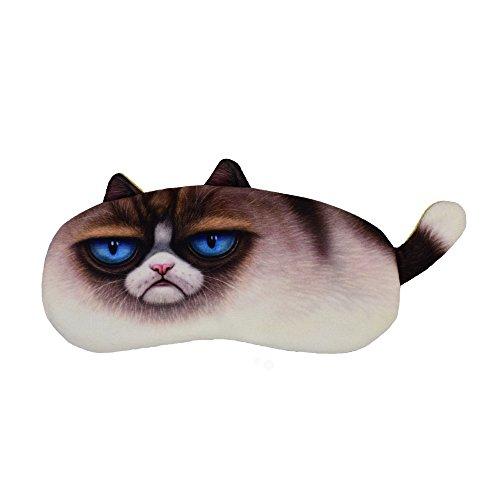 Eye Mask for Sleeping Cat Sleep Eye Shade Blindfold for Women Men Kids with Gel Pad (Grumpy Cat)]()