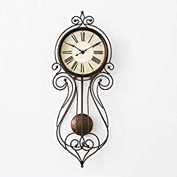 GZD Country Style Wall Clock,Nordic Retro Round Wall Clock Living Roon Wall Bedroom Mute Pendulum Clock,1652Cm,Without Batteries