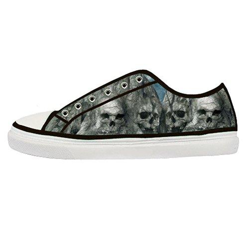 GCKG(TM) Men's Personalized Unique Skull Canvas Shoes Lace-up Zipper Fashion Sneaker -10M US