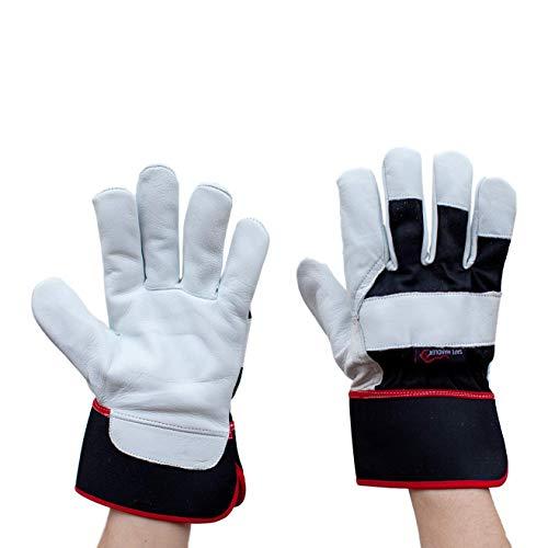 SAFE HANDLER XGrip Buffalo Leather Gloves | Elastic Band Wrist, AB Buffalo Leather, Leather Knuckle Protection, Safety Work Gloves, OSFM, 1 -