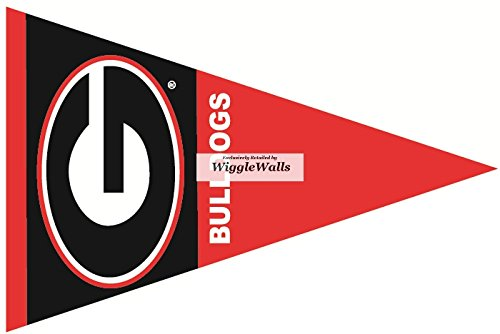 Stickers Flag Georgia (9 inch Uga Pennant Flag University of Georgia Bulldogs Power Logo Removable Wall Decal Sticker Art NCAA Home Room Decor 11 by 2.5 Inches)