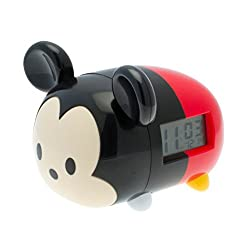 BulbBotz Disney Tsum Tsum Mickey Kids Light Up Alarm Clock | black/red | plastic | 7.5 inches tall | LCD display | boy girl | official