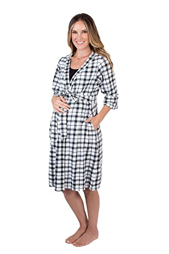 Baby Be Mine Maternity Labor Delivery Nursing Robe Hospital Bag Must Have (S/M pre Pregnancy 4-10, Black Gingham)