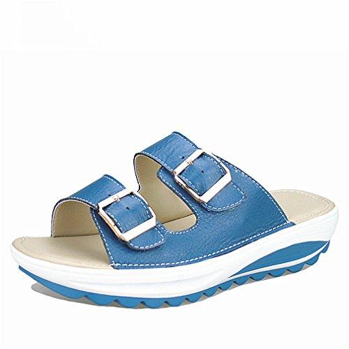 Cuir En Tongs Femme Plate Sandales Femmes D'été Casual Plage Cales Chaussures Lumino Véritable Diapositives Blue Femmes Flats Forme wtqARfafI