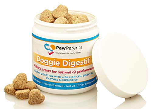 PawParents Dog Probiotics Chewable | Natural Digestive Enzymes Dogs to Support Gut Immunity Health | Address Diarrhea, Relieve Gas, Provide Allergy Relief, Bad Breath Aid | 90 Chewable Treats