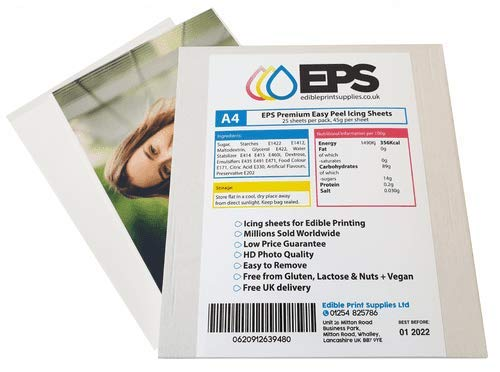 EPS Easy Peel Icing Sheets/Edible Decor Paper/Printing Sheets for Cake Toppers (25 A4 Sheets)