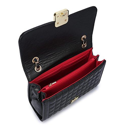 Leder Klein Handtasche Elegant Damen Schultertasche Schulterkette Schultertasche Umhängetasche Kette Band Retro Citytasche für Fraun - Schwarz