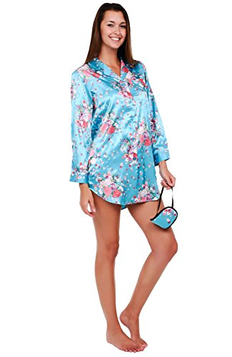 Alexander Del Rossa Womens Satin Nightshirt, Boyfriend Style Sleepshirt with Mask, Small Flower Clusters on Teal (A0746P89SM)
