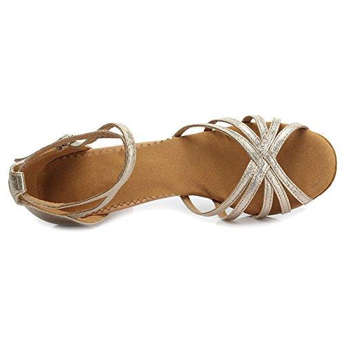 niñas tacón Ballroom Modelo Baile 7cm 1810 Es De Mujer Zapatos Latino Estándar Satén Rosa Oro dZOwqxT0