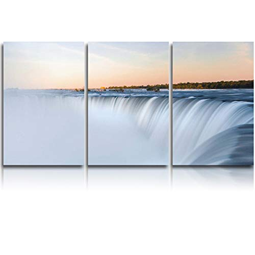 Oil Painting Artwork Print On Wrapped Canvas for Walls Spectacular Niagara Falls in The Sunset Framed Ready to Hang for Home Decor Living Room Bedroom 12x16in x3]()