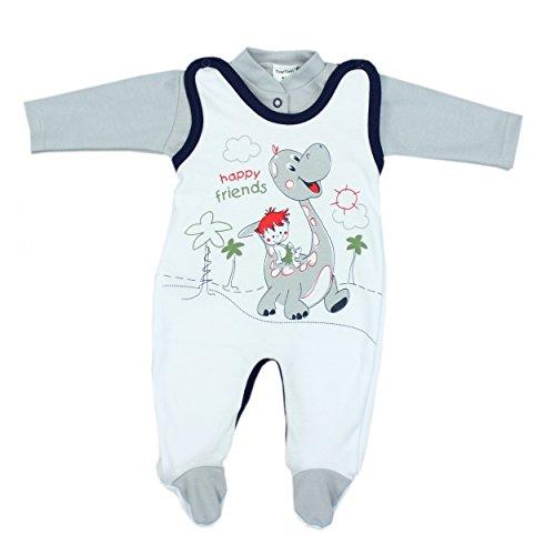 Baby Strampler mit Spruch I love Mum and Dad oder mit Aufdruck 2-tlg. Stramplerset mit Oberteil, Farbe: Dino Grau, Größe: 56