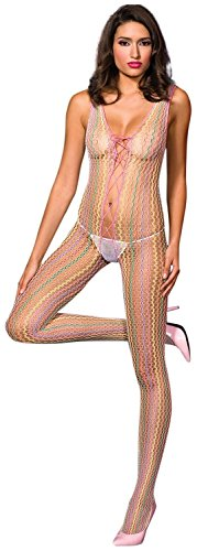 Lace Up Back Bodystocking (Lycra lace up front and back crotchless bodystocking(AS SHOWN,ONE SIZE))