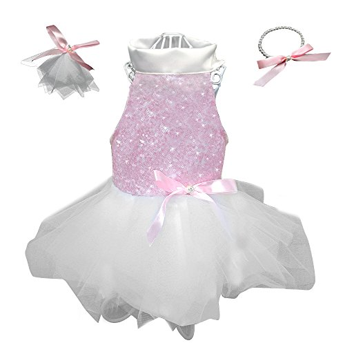 Didog Gorgeous Pet Dresses Skirts for Puppy Small Dogs and Cats,Perfect Princess Outqits for Wedding Holiday Birthiday Party - Holiday Party Dog Dress