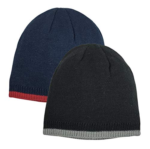 (N'Ice Caps Baby Boys Reversible Double Layered Knit Beanies - 2 Hat Pack (Black/Silver & Navy/Red Reversible, 6-18 Months))