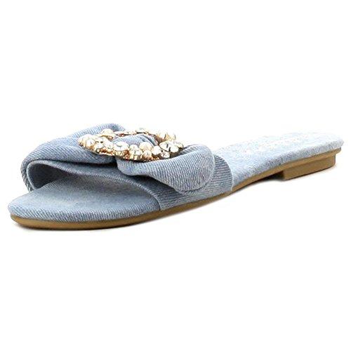 Womens Simple Single Strap Slide On Flat Slipper Sandal Denim Jeweled uuiqA