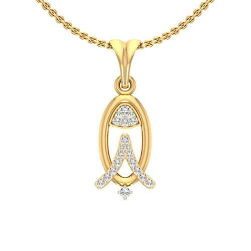 Or jaune 18K 0,14CT TW Round-cut-diamond (IJ | SI) diamant Pendentif