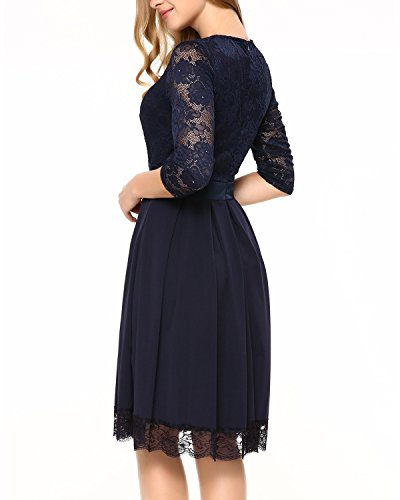 Party Dark Women's Blue1 Sleeveless Mixfeer Pleated Dress Lace Cocktail Dress Round Evening Neck A Line HqwOwnWPg