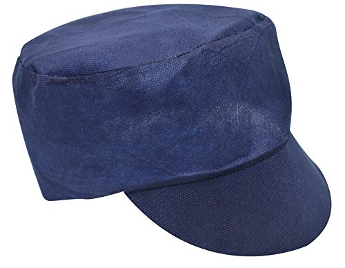 (100 Pack of Blue Peaked Caps 80g (Peak) + 40g (Crown). Navy Color Polypropylene Safety Caps. Unisex Disposable Hair Protection for Food Industry Workers. Form Fitting. Latex Free. One size fits all.)