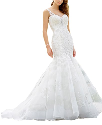 Nicefashion Women's Exquisite Sleeveless Sweetheart Dropped Waist Trumpet Chapel Train Wedding Dress White US2