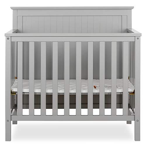 Dream On Me Ava 4-in-1 Convertible Mini Crib in Pebble Grey