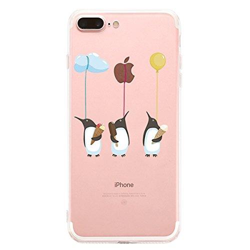 AIsoar iPhone 7 Plus 8 Plus case Clear Design Surface Slim Fit Soft Ultra-Thin TPU Bumper Transparent Scratch Resistant No-Slip Protective Case Cover for iPhone 7 Plus 8 Plus (penguin)