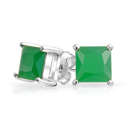 1CT Green Square Cubic Zirconia Brilliant Princess Cut CZ Stud Earrings For Women 925 Sterling Silver Simulated Jade 7MM