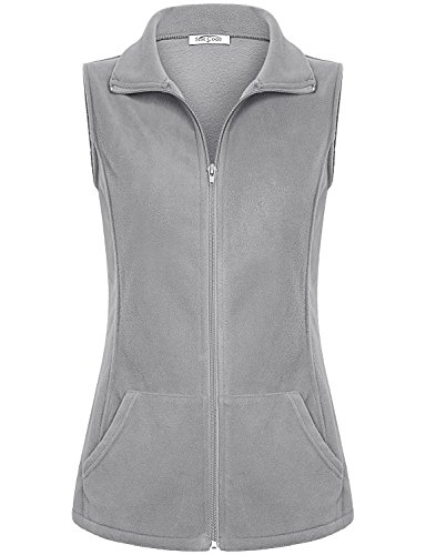 SeSe Code Casual Vest for Women Ladies Sleeveless Polar Fleece Vests Full Zip Solid Color Tops with Pockets Loose Fit Springy Comfortable Awesome Winter Outerwear Grey-1 (Full Zip Polar Fleece Vest)