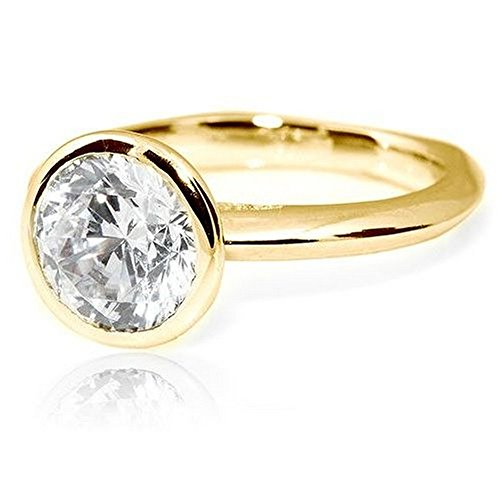 14K Yellow Gold Bezel Round Cut Solitaire Diamond Engagement Ring (1 Carat D-E Color VS2 Clarity) - Round Natural Solitaire Diamond