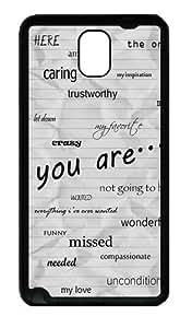 Words Custom Designer Samsung Galaxy Note 3 / Note III/ N9000 - TPU - Black