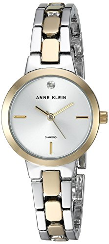 Anne Klein Women's Diamond-Accented Two-Tone Bracelet Watch