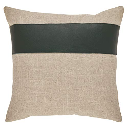 Rivet Industrial Throw Pillow – 17 x 17 Inch, Flax Hunter Green