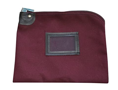 Locking Money Bag Canvas Keyed Security Burgundy - Locking Security Bags