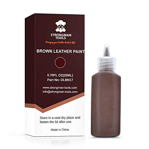 Strongman Tools | Brown Leather Paint | Non Toxic Premium Grade | Use to Restore and Repair Your Brown Leather Items | for Handbags, Car Seats, Couches, Sofas, Boats, Jackets ()
