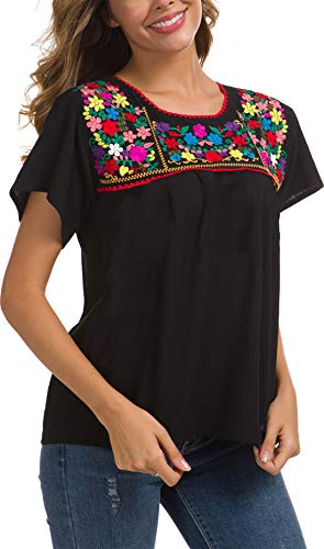 Cotton Peasant Dress - YZXDORWJ Embroidered Mexican Peasant Blouse (XXL, 290BK2)