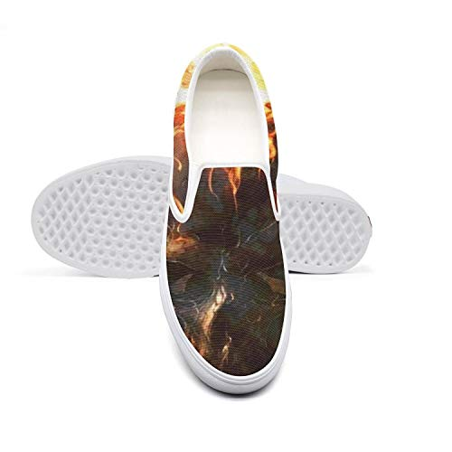 Women Lazy Canvas Slip-On Shoes Flames Skull fire Wallpaper Design Running Sneakers