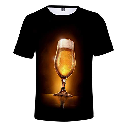 Zackate Mens Beer 3D Printed Short Sleeve T-Shirts Summer Casual Stylish Tees Tops for Beer Festival