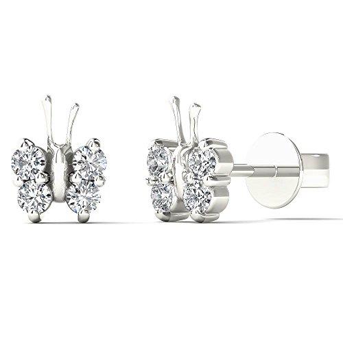 JewelAngel Women's 10K White Gold 1/5 Carat TDW Diamond Dainty Butterfly Stud Earrings (H I, I1 I2)