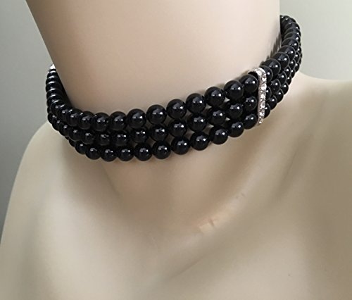 Black Pearl Choker Necklace Earrings Set 3 strands with Backdrop wedding formal bridal jewelry Mother of the bride by Alexi Blackwell Bridal