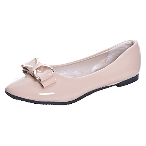 Hee grand Womens Slip On Pointy Toe Bowknot Ballet Flats Dress Shoes Basic Closed Fashion Loafers Peas Shoes Women Flats Ladies Ballet Shoes Beige 7.5