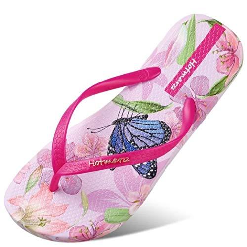 Crimeng Women Beach Flip Flops Butterfly Floral Slippers Ladies Comfy House Sandals